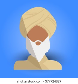 Cool and Artistic Avatar in Flat Design with an Arab Old Man, White Beard and Traditional Religious Ethnic Clothes for Business, App and Web Design
