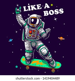 cool astronaut skating in space like a boss slogan vector cartoon comics style illustration tee shirt grapic wallpaper poster home textile baby shower pajama print design