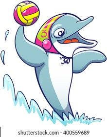 Cool athletic dolphin wearing a colorful cap, smiling and keeping balance out of the water thanks to the power of its tail while holding a ball and preparing to shoot while playing water polo