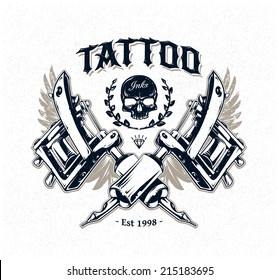Cool authentic tattoo studio poster template with tattoo machines and classic typography. Vector illustration.