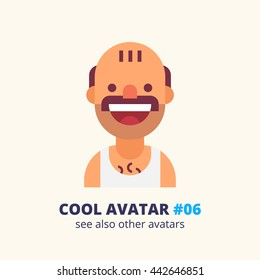 Cool avatar #06. Bald man with a mustache in a singlet smiling. Modern simple and clear design. Vector icon in flat style.