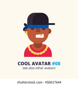 Cool avatar #08. Black rap singer. Modern simple and clear design. Vector icon in flat style.