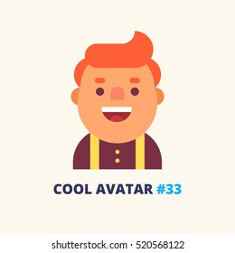 Cool avatar #33. Young fat red guy friendly smiling. Modern simple and clear design. Vector icon in flat style.