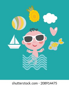 Cool baby on vacation. Vector set.