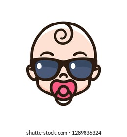 Cool baby sucking a pacifier. Child with sunglasses. Child icon
