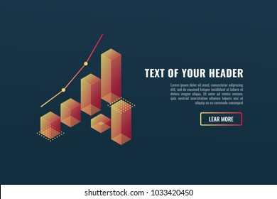 Cool banner with charts, data visualization concept, growing up, business success  isometric vector illustration