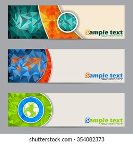 Cool banner set of three with abstract geometric shapes