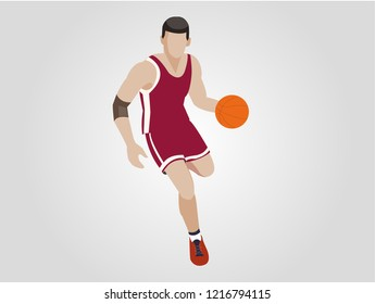 Cool basketball player in red uniform with the ball. Sports concept.