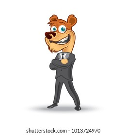 Cool Bear Character In Suit Style Doing Some Steady Pose. Vector EPS10 Cartoon Animal. Mascot illustration
