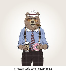 cool bear with coffee and donut, furry art illustration, fashion animals