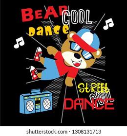 cool bear dance animal cartoon vector