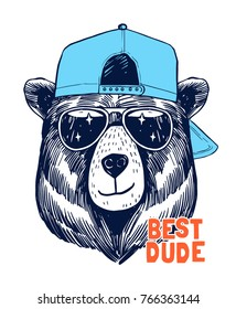 Cool bear illustration for t-shirt and other uses.