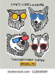 Cool bear, owl and wolf vector design for t shirt printing