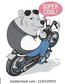 Cool bear riding a motorcycle vector design