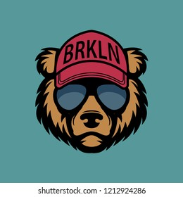 Cool bear in sunglasses
