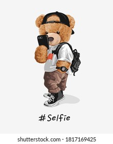 cool bear toy taking selfie illustration