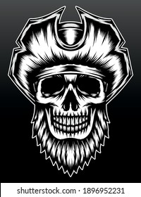 Cool bearded skull pirate. Premium vector