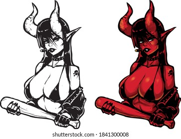 cool and beautiful devil girl in a black bikini with a cigarette in her mouth holding a bat