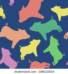 Cool beautiful seamless pattern from silhouettes of pigs of different colors to the new year 2019