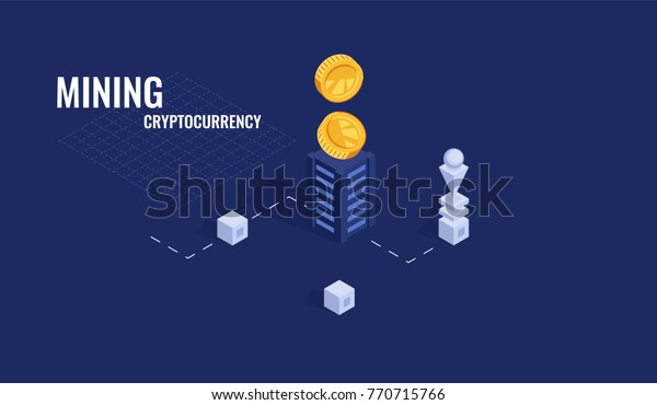 Cool Bitcoin Cryptocurrency Mining Scheme Vector Stock