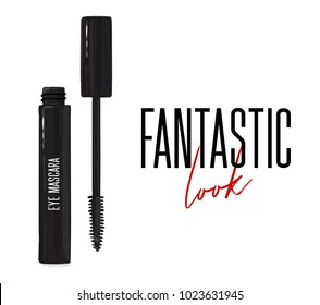 Cool black mascara with applicator brush close-up, isolated on white background. Fantastic lash look  visage. Make up feminine container. Elegance female glamour  print. Luxury brand  cosmetology.