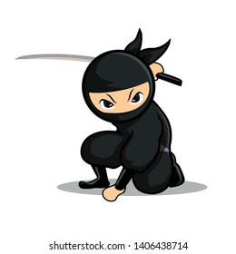cool black ninja sit down holding a sword ready to fight