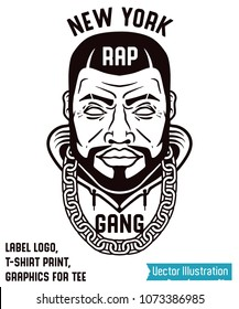 Cool black and white logo concept. Logo design - new york rapper head. Graphics slogan for tee and t-shirt. Awesome print for clothes. Brutal swag sign. Vector illustration on white background