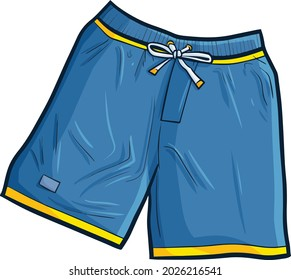 Cool blue boxer short pant in cartoon style
