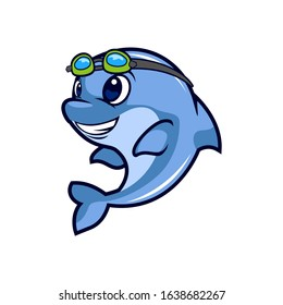 cool blue dolphin holding goggle ready for swim