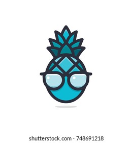 Cool Blue Pineapple with Glasses Logo Vector Illustration Design