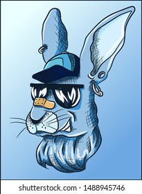 Cool blue rabbit with hat, earrings and sunglasses winking. Bad bunny with bad street boy attitude, funny pet illustration.