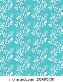 Cool blue and white floral, roses and branches repeating pattern in a trendy color palette for textile, fabric, backgrounds, wallpapers and creative surface designs. pattern swatch at eps. file