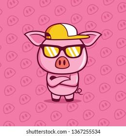 cool Boss Pig wears a eyeglasses illustration