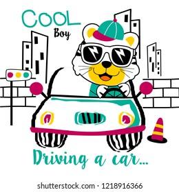 cool boy driving a car funny animal cartoon,vector illustration