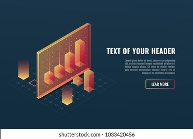 Cool business analytics concept, data visualization, 3d infographics, charts and diagram isometric vector illustration