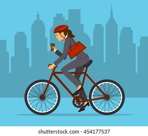 Cool Businesswoman riding bicycle to office. Eco friendly trendy city bike to work