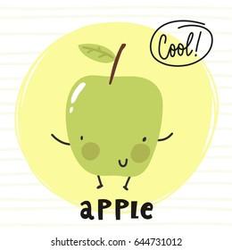 Cool card with cartoon apple