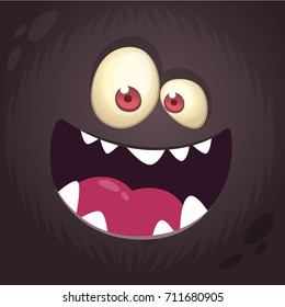 Cool cartoon black monster face. Halloween vector illustration