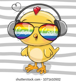 Cool Cartoon Cute Chicken with sun glasses