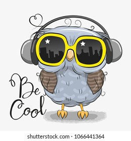 Cool Cartoon Cute Owl with sun glasses