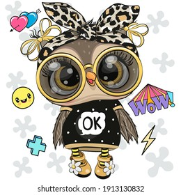 Cool Cartoon Cute Owl with sun glasses