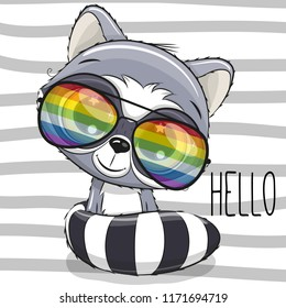 Cool Cartoon Cute Raccoon with sun glasses on striped background