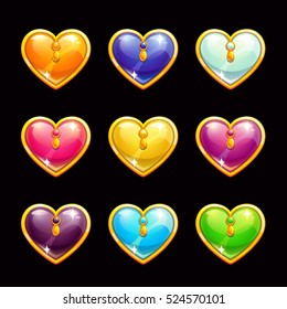 Cool cartoon diamond hearts icons set. Vector colorful life assets for gui design. Game jewelry elements on dark background. Love symbols.