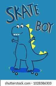 cool cartoon dinosaur skate boarding, vector, illustration