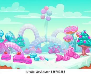 Cool cartoon fantasy sweet world vector background. Candyland landscape illustration.