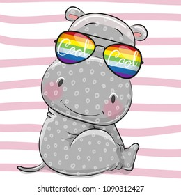 Cool Cartoon gray Hippo with sun glasses