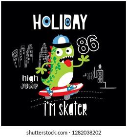 cool cartoon monster dinosaur skate boarding, vector, illustration
