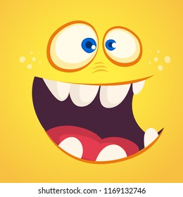 Cool cartoon monster face avatar. Vector Excited orange monster with big mouth full of teeth.