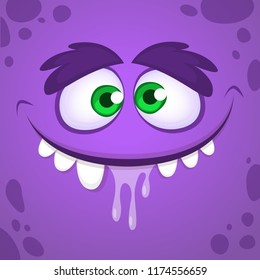 Cool cartoon monster face. Vector Halloween illustration of brown monster