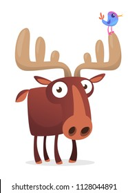 Cool cartoon moose character with a bird sitting on horn. Vector moose illustration isolated.